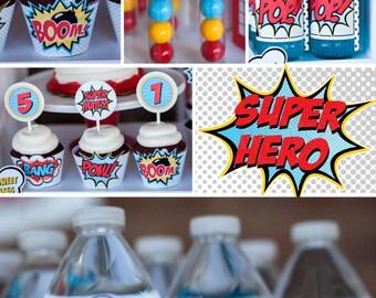 DIY printable birthday party package - Superheroes