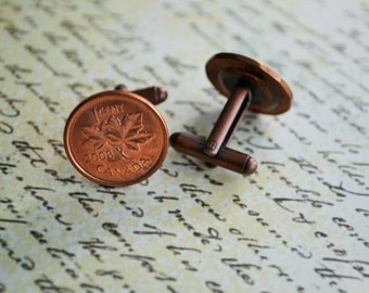 CANADIAN PENNY Cufflinks / you pink the year / Copper cufflinks /  Custom /  7th Anniversary gift / Groomsmen Gift / Personalized Gift