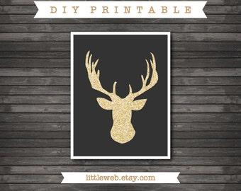 Gold Glitter Deer  Printable, Deer Art Print,  Instant Download