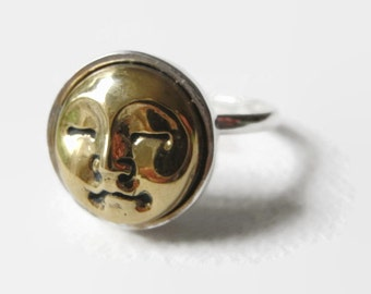 The Man in the Moon III: an adjustable solid silver ring with gorgeous brass face