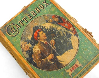 1916 Victorian Christmas Children's Book Antique Chatterbox Illustration Nursery Rhyme Poem Bedtime Stories Nostalgic Collectible Literature