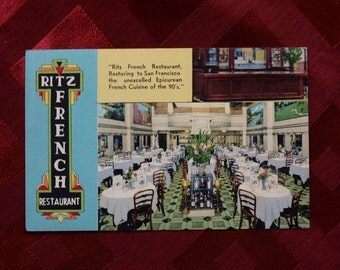 Postcard Ritz French Restaurant San Francisco MWM 1567 Bursheen Linen Finish 1940's Eat Eating Epicurean French Cusine Travel America