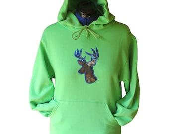 Women's Buck Deer Hoodie w Mossy Oak Camo Applique w/ Blue trim on Lime Green Hoodie Sweatshirt