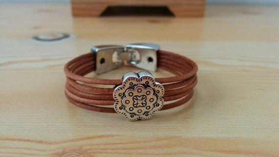 Girl bracelet, girl cuff, brown leather cuff, flower girl jewel,red girl bracelet,girl jewelry,kids jewelry,small bracelet,junior bracelet