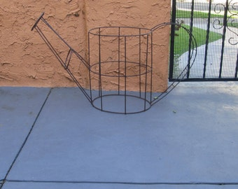 Vintage Metal Wire Very Large Watering Can Sculpture / Garden Vintage Decor