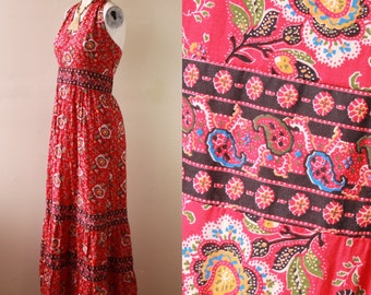 Vintage - 60s/70s - Red - Ethnic Floral & Paisley - Halter Top - Empire Waist - Long - Maxi Dress - Boho - Hippie