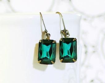 Emerald Earrings, Emerald Green Crystal Rhinestone Earrings,  May Birthstone Gift Idea Prom Bridal Jewelry Christmas Green Earrings