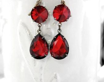 Ruby Earrings  Ruby Red Crystal Rhinestone Earrings July Birthstone Winter Wedding Bridesmaid Jewelry Prom Christmas Gift Idea Military Ball