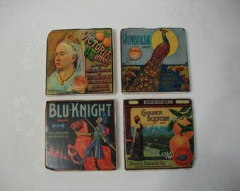 Coasters / Fruit Crate Labels Vintage Style Stone Tile Coasters Set of 4