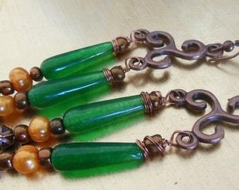 Oranges on green, chandelier earrings  E455
