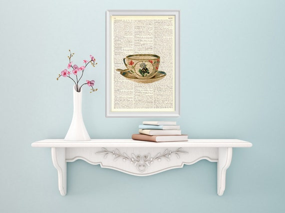 Lovely Teacup Dictionary art print on dictionary book wall art print, Wall hanging Kitchen decor, Tea time print,  TVH146