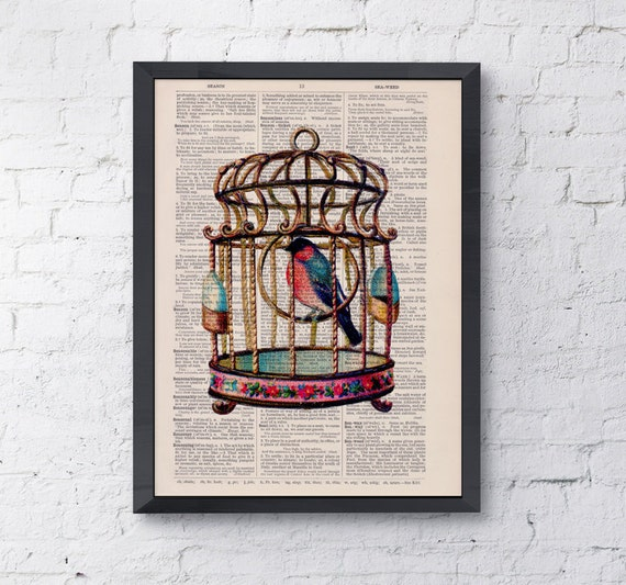 Spring Sale Cute bird on a cage. Colorfull Cage collage Print on Vintage Dictionary  page  book art print BPAN180