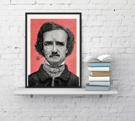 Spring Sale Art print Edgar Allan Poe Portrait illustration, Wall art print, wall art decoration,Gothic art, american horror WTV078