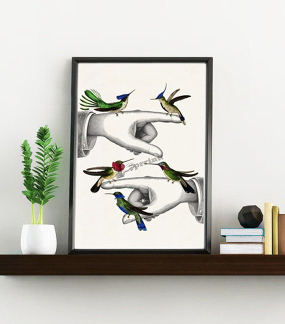 Spring Sale Home decor Hummingbirds on pointing hands collage  bird collage  print  Love birds wall art Art and collectibles WAN109