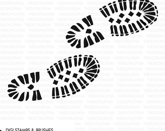 FOOTPRINTS - Shoe Prints - Digital Stamp and Brush - INSTANT DOWNLOAD - for Cards, Scrapbooking, Journaling, Collage, Invites, Crafts, More