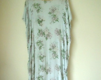 SAMPLE SALE Grey floral soft summer 70s inspitred kaftan dress