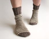 Big Size Striped Men's Socks - 100% Natural Organic Wool - Warm Winter Autumn Clothing