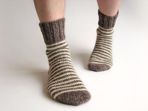 Big Size Striped Men's Socks - 100% Natural Organic Wool - Warm Winter Autumn Clothing