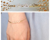 Ida Bracelet - gold filled 14k vermeil swarovski - downton abbey bridal  dainty bangle - art nouveau - 20s 1920s - MADE TO MEASURE