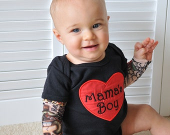 Baby Boy Clothes  Embroidered Heartbreaker Tattoo Sleeve Shirt  Bodysuit embroidered with  Mama's Boy Tattoo Sleeve 0-3 mon up to 5T