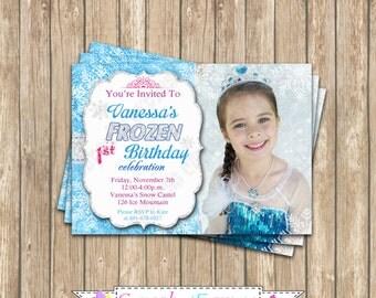 Frozen Inspired  Birthday Party  PRINTABLE photo Invitation #4  5x7 buel aqua purple snowflakes Elsa Anna