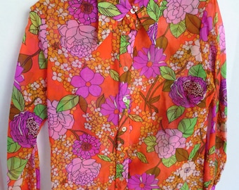 Women's Bright Floral Semi Sheer Polyester Blouse Button Down Shirt with Pointy Collar