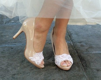 Wedding shoes peep toe platform high heel vegan bridal shoes embellished with white French lace, crystal sequins, and pearls