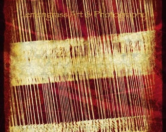 Weave a Tale, Photography Fine Art Print, Fibers, Weaving, Threads, Loom, Crafts, Red Wall Art/Home Decor