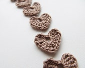 Crochet Heart Appliques, Cafe Latte, Cacao Brown, Set of 10, Wedding Decoration, Love Motif, Scrapbooking, Party Decorations, Morning Coffee
