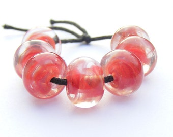 Handmade lampwork beads - set of 7 scarlet swirly glass beads, red lampwork