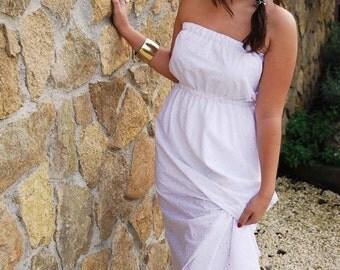 Maxi Dress, White Long Dress, Wedding Dress, Empire waist, Beach Dress, Romantic, Bohemian dress, Strapless Long White Dress