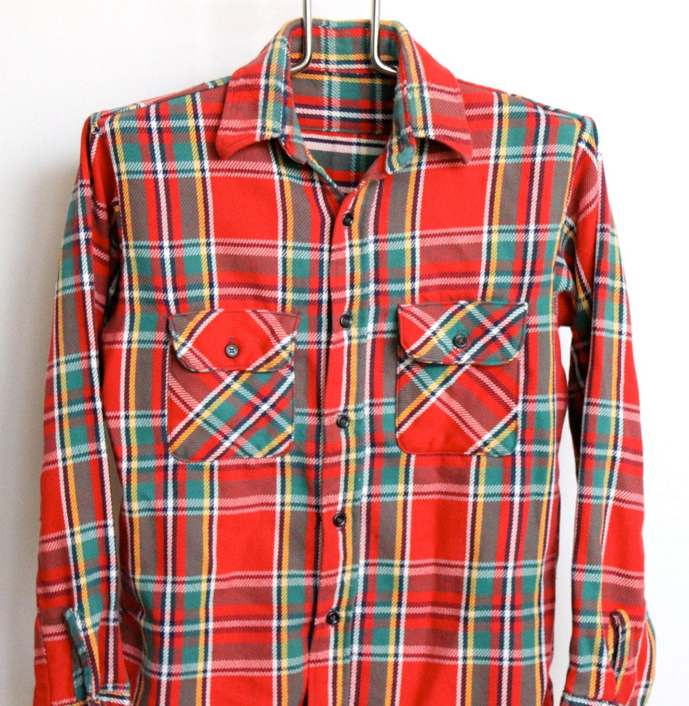 red plaid flannel shirt mens medium vintage by