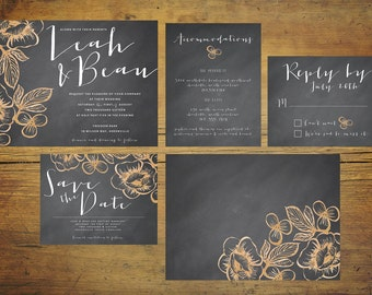 Chalkboard Wedding Invitation Suite (25 Sets) | Wedding Invitations, Invitation Set, Gold Floral, Chalkboard Wedding Invitation, Gold