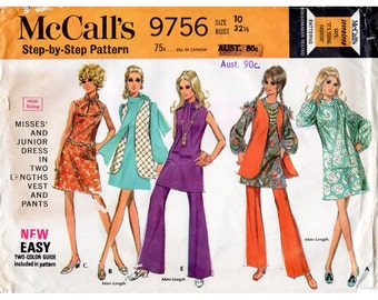 1960s A Line Mini Dress Pattern with Trousers, Vest & Scarf McCall's 9756 Vintage Sewing Pattern Bust 32.5 Complete Mod Wardrobe Outfit