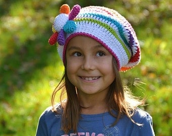 Rainbow slouchy - crochet hat pattern, DIY