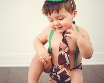 Baby boy / Toddler Cake Smash Birthday Outfit including a necktie diaper cover suspenders & party hat in football with green accents