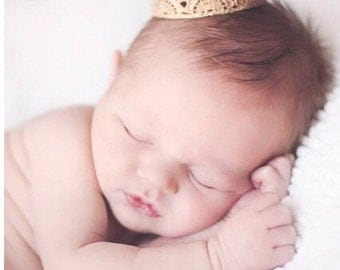 the Harper||newborn vintage mini lace crown || choose ONE|| gold or silver photography prop HEADBAND option (newborn-toddler)