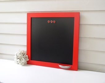 Modern Framed Magnetic CHALKBOARD Solid Wood Frame Memo Board - 16 x 16 Red Framed Blackboard Chalk Holder Cup Vintage Style Button Magnets