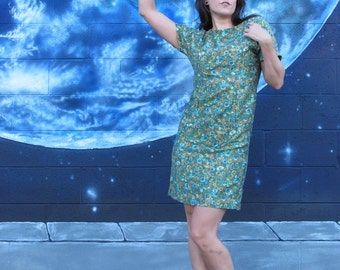 1950s Roses Watercolor Party or Day DRESS Cotton Fitted PinUp One of a Kind Green Floral Leaves Midi Vintage // S / M /L