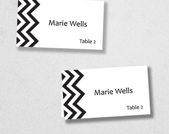 Printable Place Card Template - INSTANT DOWNLOAD - Escort Card - For Word and Pages - Mac and PC - Flat or Folded - Chevron Design