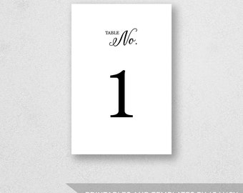 Table Number PRINTABLE - Weddings - Birthdays - Any Occasion - 4 x 6 inches