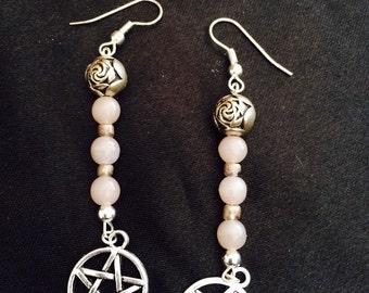 Pentagram and vintage pearl earrings