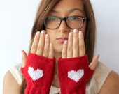 Valentines Days / Knitting Fingerless Gloves . Black Friday.  Fashion . Girls Women . Love . Red . Heart . Winter collection