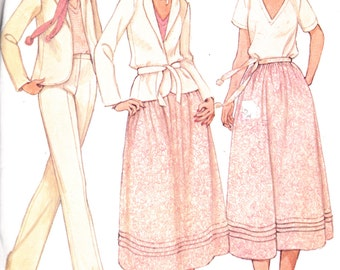 "1970's Womens Sewing Pattern Unlined Jacket Pullover T-Shirt Flared Skirt and High Waist Pants Size 6 Bust 30.5"" McCall's 6455"