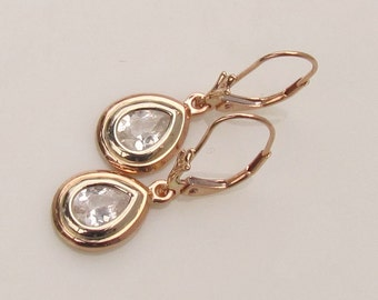 Pear Shape Vintage Style White Sapphire Dangle Earrings in Rose Gold and White Gold Leverbacks