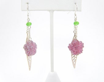 Pink Flower Earrings with Silver Leaf Charms - Silver Plated French Hook Dangle Earrings