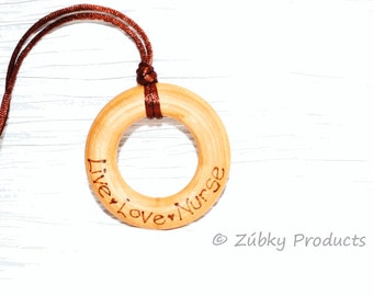 Wooden Teething Necklace by Zúbky- Live Love Nurse - Natural Wood Jewelry for Nursing Breastfeeding Mommy