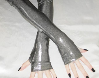PVC arm warmers fingerless gloves armwarmers arm warmer long sleeves- Liquid Oxygen - gray shiny stretch gothic fetish bondage belly dance