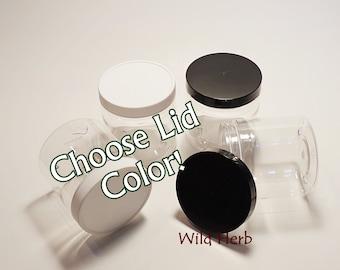 SET of 4 JARS - 8 oz. PET Plastic with Lid (Quanitites available!) Choose Lid Color