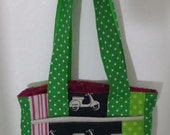 Lets Ride and Scoot Super Tote Ready to ship Scooters Linen Echino Large tote bag large purse one of a kind